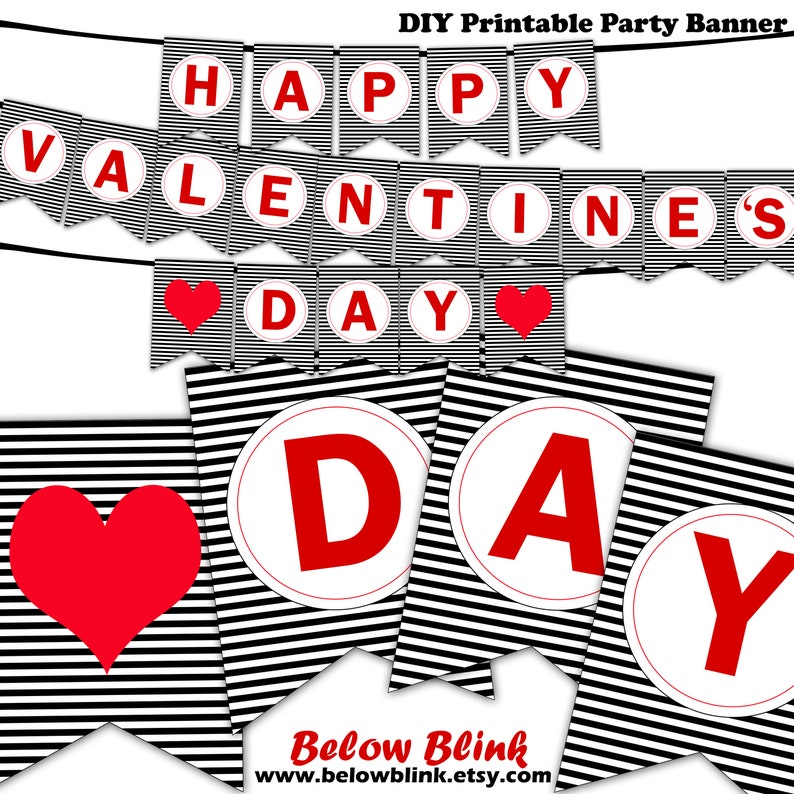 graphic about Happy Valentines Day Banner Printable titled Joyful Valentines Working day Banner Printable Valentine Themed Get together Give Bunting Banner Pennant Pictures Props Fast Obtain DP718