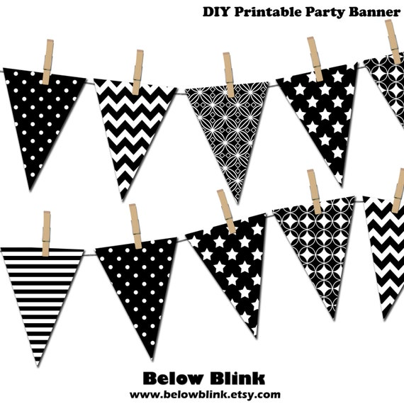 Black And White Banner Printable Party Banner Happy Birthday Etsy