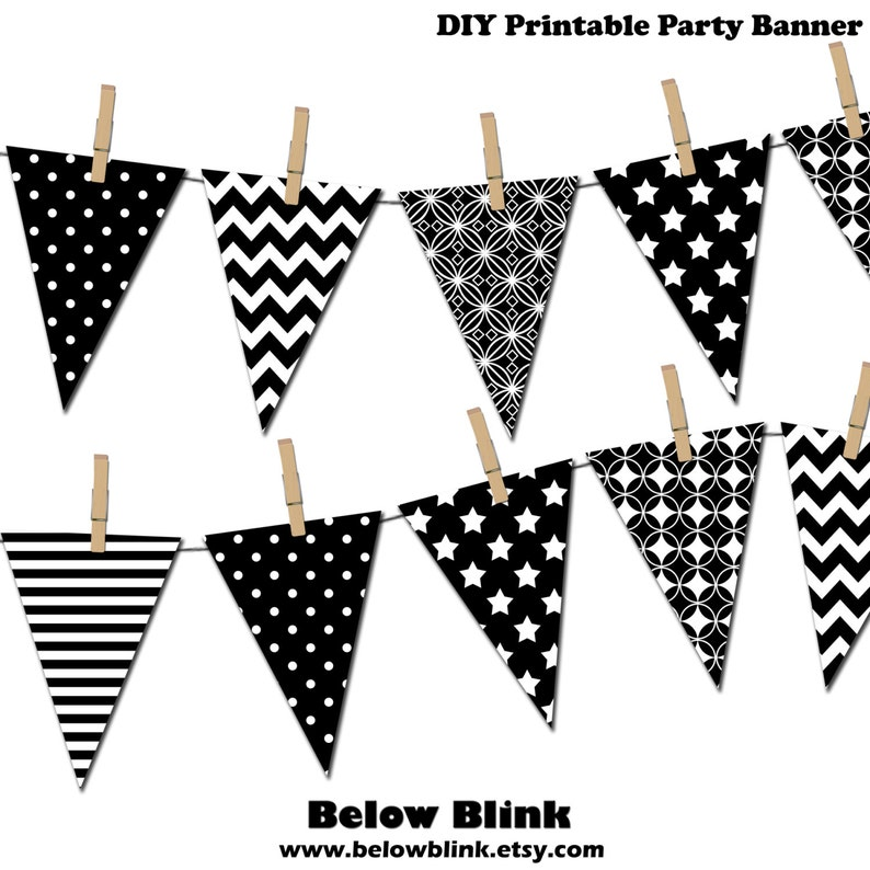 image about Banner Printable identified as Black and White Banner, Printable Bash Banner, Satisfied Birthday Pennant Banner, Kid Shower Banner, Picture Prop - Instantaneous Down load- DP378