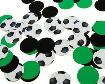 50 Soccer Confetti, Sports Party Decorations, Birthday Decor, White, Green and Black - No656