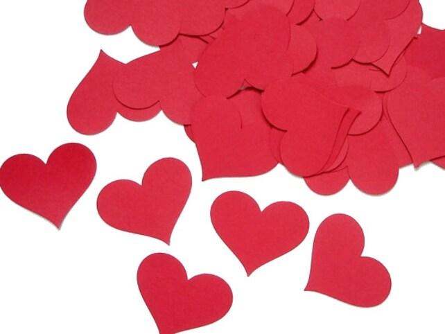 Red Heart Confetti 25CT, Valentine's Day Confetti, Wedding Party Decoration, Engagement Confetti, Heart Die Cut, Love Confetti - No534