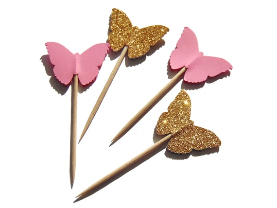 Butterfly Cupcake Toppers 24CT Fairy Party Table Decor Birthday Picks Wedding Confetti Pink And Gold