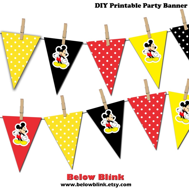 picture relating to Mickey Mouse Printable identified as Mickey Mouse Banner, Mickey Mouse Printable Bash Banner, Delighted Birthday Pennant Banner, Image Prop - Quick Down load - DP376
