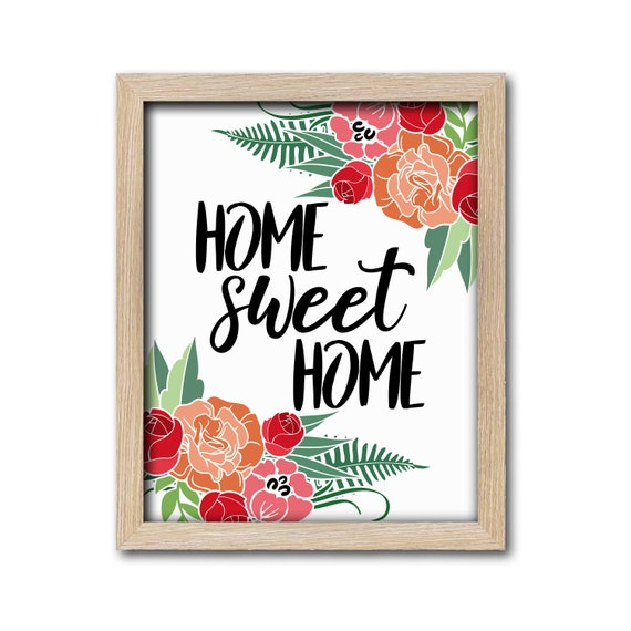 picture regarding Home Sweet Home Printable named House Cute Residence Printable Indicator Wall Artwork Property Decor Floral