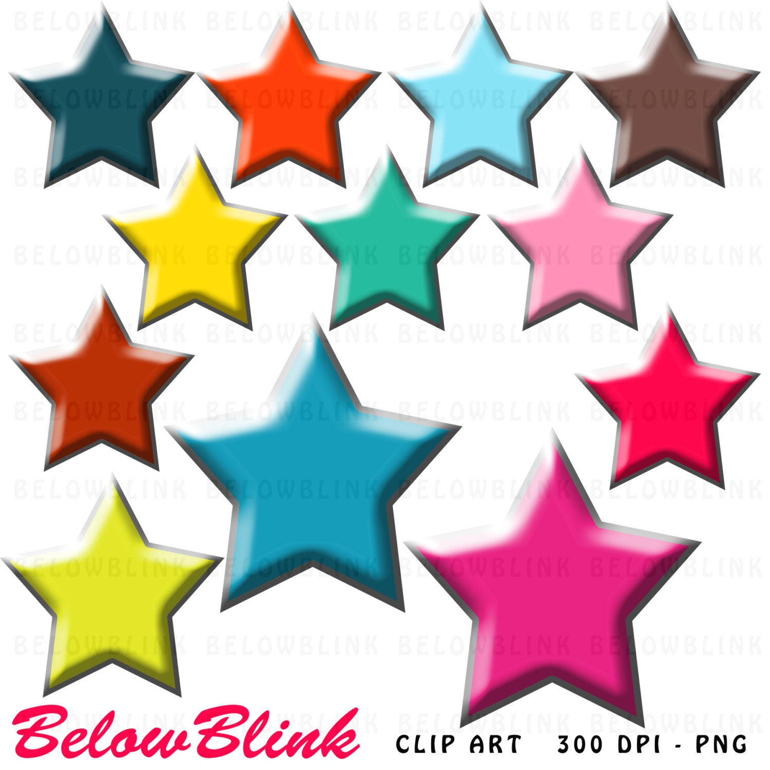 Colorful Stars Clipart Clip Art Digital Scrapbooking | Etsy