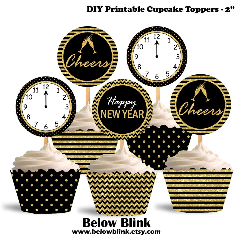 picture about Printable Cupcake Toppers referred to as Printable Delighted Clean Yr Cupcake Toppers, Cheers Cupcake Toppers, Contemporary Calendar year Concept Get together Decorations - Quick Down load - DP502