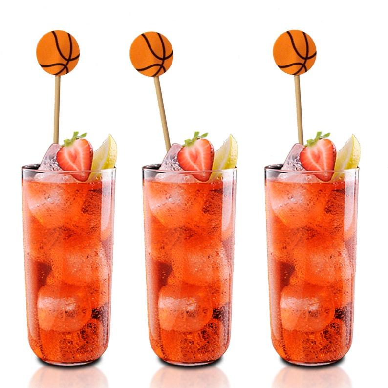 Swizzle Sticks Cocktail Stirrers Cupcake Toppers 12 Basketball Drink Stirrers No1133 Cake Toppers