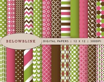 Pink Green Brown Digital Paper Pack, Scrapbook Papers, 24 jpg files 12 x 12 - Instant Download - DP174