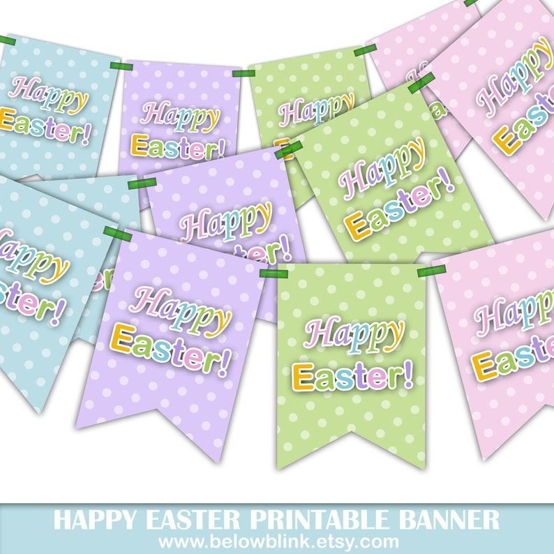 photograph regarding Easter Banner Printable identified as Delighted Easter Printable Banner, Easter Banner, Easter Occasion Decorations, Easter Egg Hunt, Printable, Do it yourself - Quick Down load - DP586