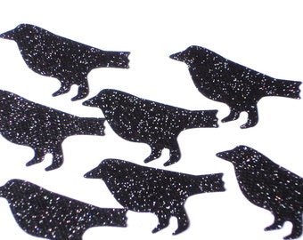 50 Halloween Glitter Black Crow Bird confetti scrapbooking embellishments - No207
