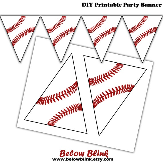 INSTANT DOWNLOAD Navy and Red Banner Baseball Birthday, Baseball Banner, Sports Party, Pinstripe Banner, Striped Banner, Printable Banner