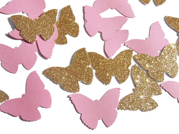 Butterfly Confetti 50CT, Fairy Party Table Decor, Birthday Decorations, Butterfly Wedding Confetti, Pink and Gold Decor - No647