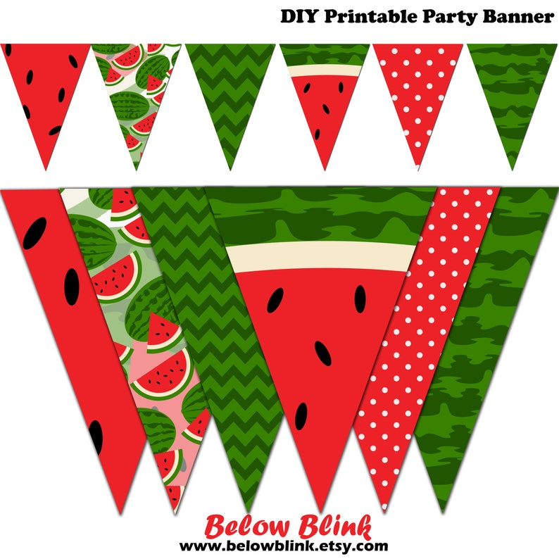 graphic relating to Watermelon Printable named Watermelon Banner, Watermelon Printable Banner, Summer time Bash Pennant Banner, Birthday, Pictures - Immediate Obtain - DP494