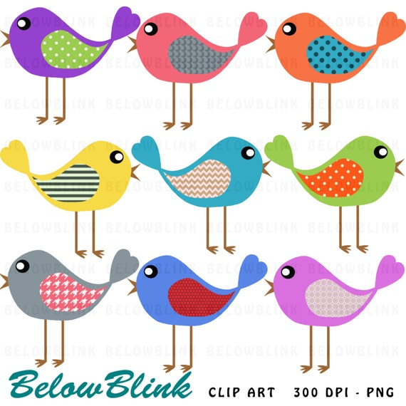 Cute Bird Clipart Digital Clipart Birds Clipart Digital Etsy