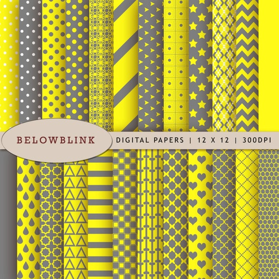 Yellow And Gray Digital Paper Pack Scrapbook Papers 24 Jpg Etsy