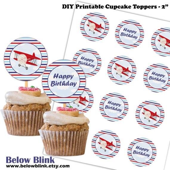 Airplane Happy Birthday Cupcake Toppers Printable Airplane Birthday