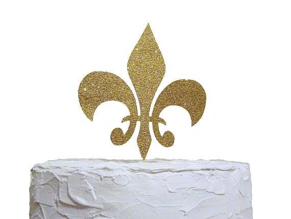 Glitter Gold Fleur De Lis Cake Topper Wedding Cake Topper Birthday