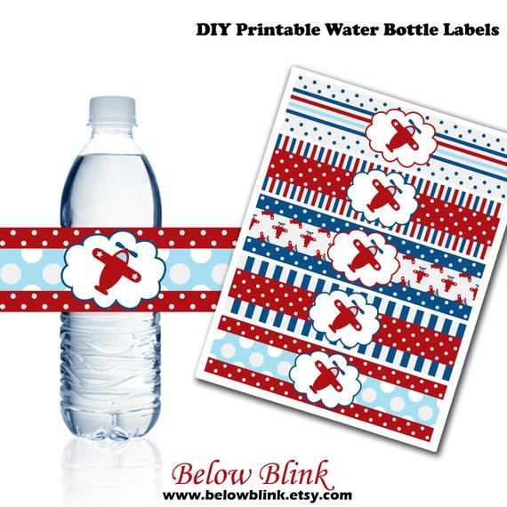 Airplane Water Bottle Labels Printable Water Bottle Labels Etsy - Printable-water-bottle-labels
