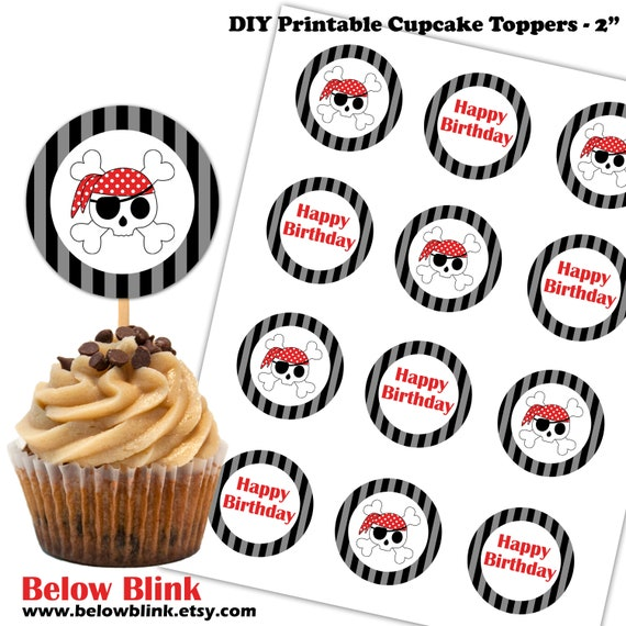 Pirate Cupcake Toppers Pirate Happy Birthday Cupcake