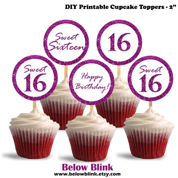 Sweet 16 Cupcake Toppers Happy Birthday Printable Cupcake Etsy