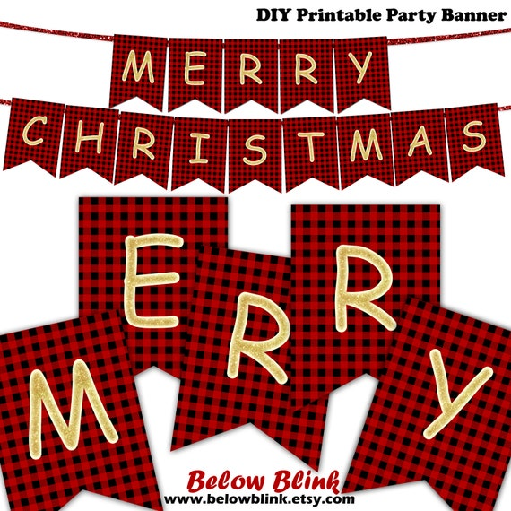 graphic relating to Merry Christmas Banner Printable called Crimson Plaid Merry Xmas Banner, Printable Xmas Banner