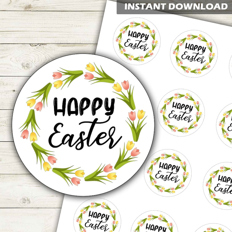 Instant Download 2 Circles Happy Easter Cupcake Toppers Tulips Happy Easter Stickers Printable Happy Easter Labels DP1034