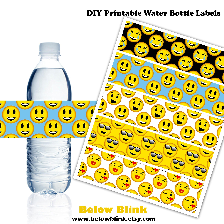 Emoji Water Bottle Labels Smiley Printable Water Bottle Etsy