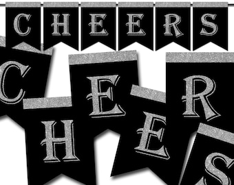 Cheers Banner, New Year Printable Banner, Birthday Banner, Photo Banner Props, Graduation Banner, Glitter Silver, Instant Download - DP633