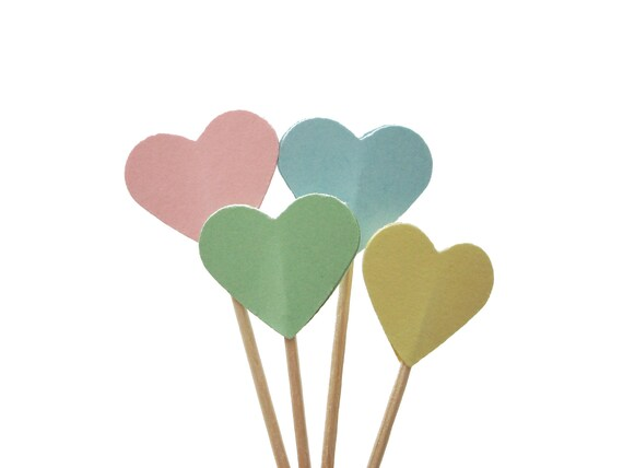 Pastel Heart Cupcake Toppers 24CT, Valentine's Day Party Picks, Food Picks, Wedding, Baby Shower, Birthday - No760