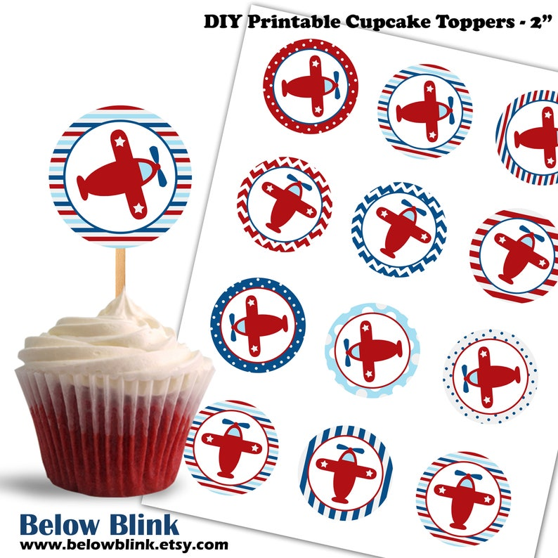 picture regarding Printable Cupcakes Toppers known as Aircraft Cupcake Toppers, Birthday Printable Cupcake Toppers, Kid Shower Plane Concept Social gathering Decor - Quick Down load - DP432