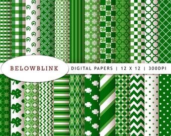 St. Patrick's Day Digital Paper Pack, Scrapbook Papers, 24 jpg files 12 x 12 - Instant Download - DP171