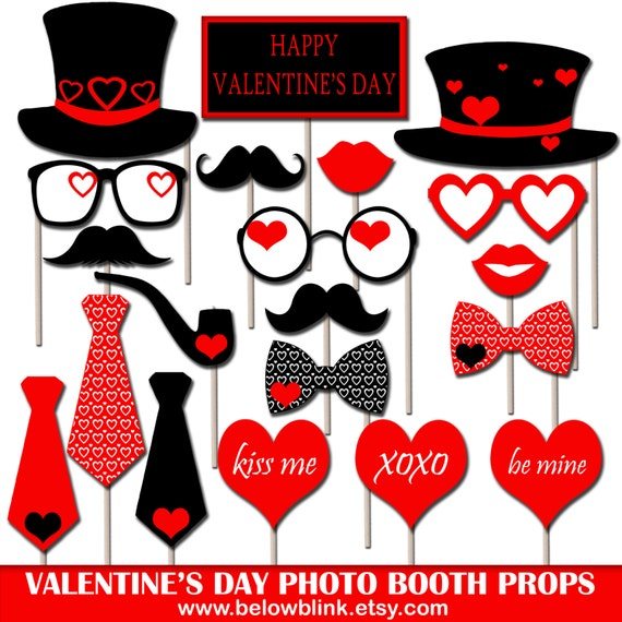 Valentines Day Photo Booth Props Printable Valentines Etsy