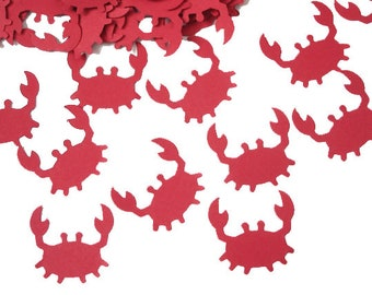 50 Red Crab Confetti, Under the Sea, Baby Shower, Nautical Party Decorations - No190