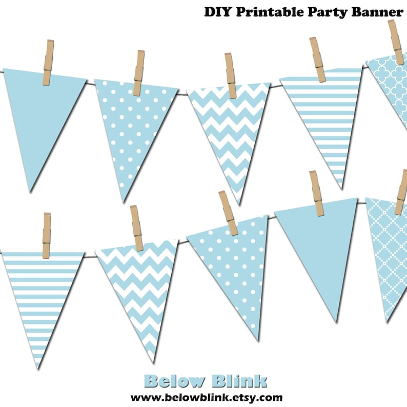photo about Banner Printable referred to as Light-weight Blue Banner, Printable Pennant Banner, Birthday Social gathering, Its a Boy Little one Shower Banner - Instantaneous Down load - DP371
