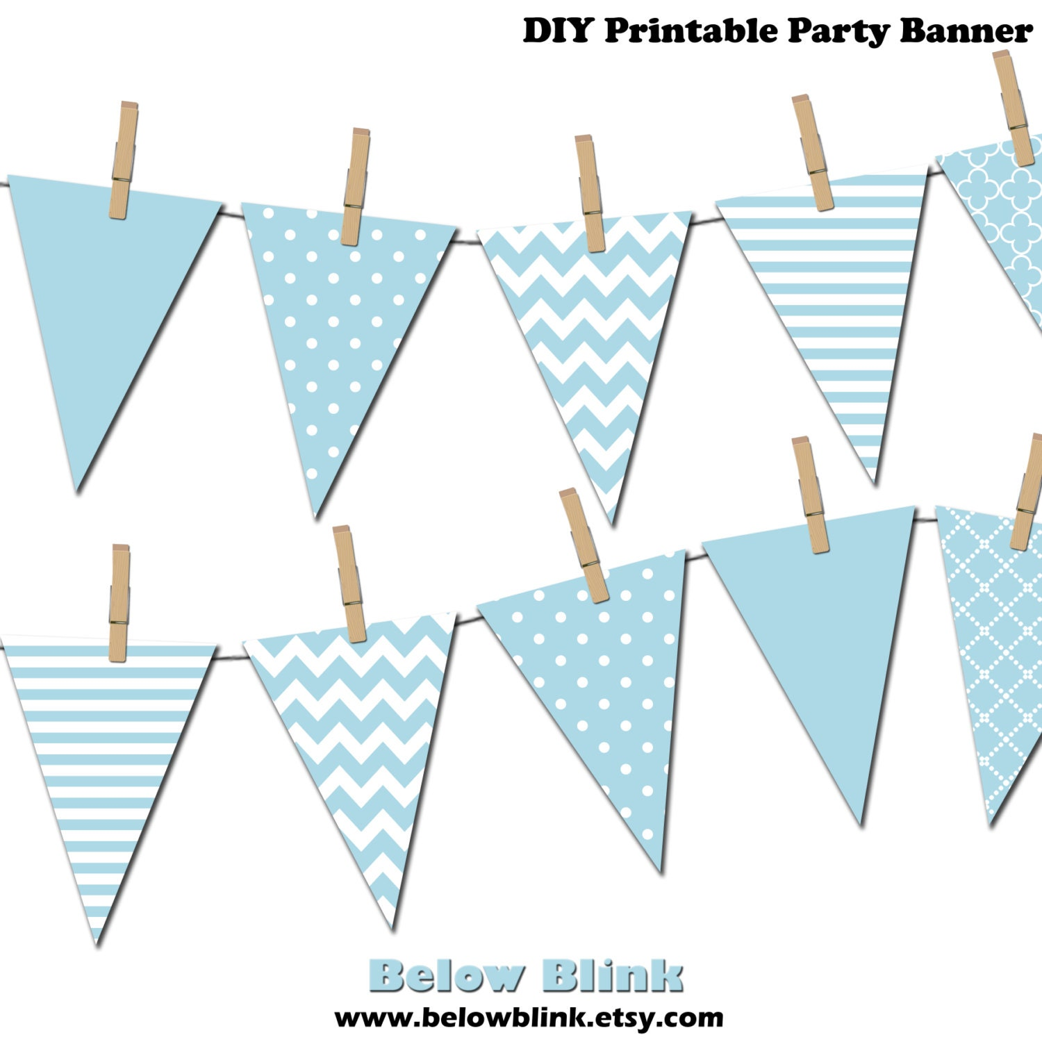 Light Blue Banner Printable Pennant Birthday Party Its A Boy Baby Shower