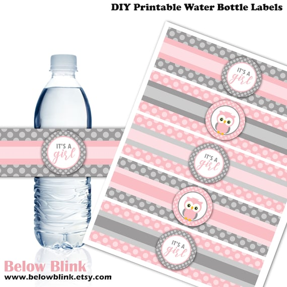 Owl water labels Owl theme printable labels Baby shower water bottle labels girl 78A2
