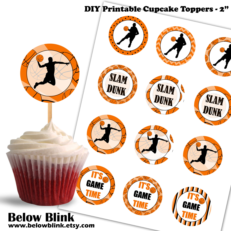 Basketball Cupcake Toppers Birthday Printable Cupcake Etsy