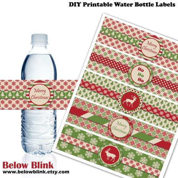 Printable Christmas Water Bottle Labels Merry Christmas Water