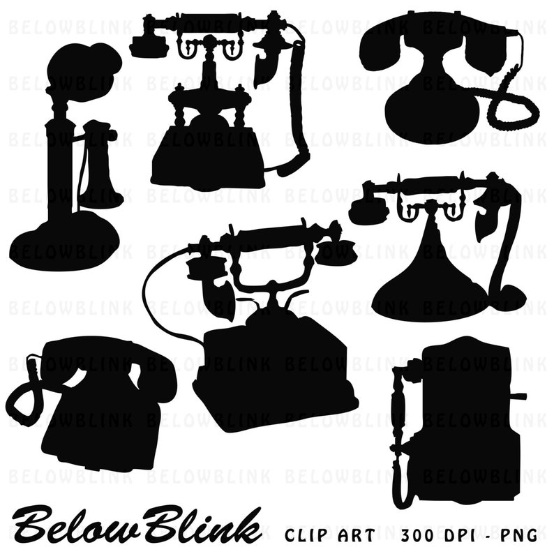 Vintage Telephone Silhouettes Clipart Clip Art Digital