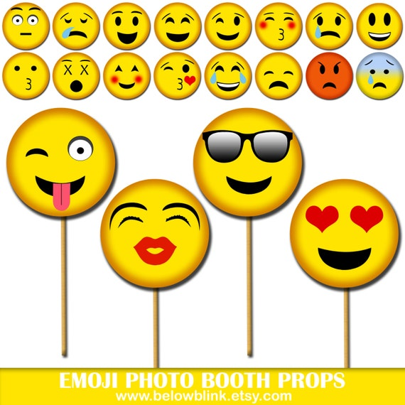 Emoji Photo Props Printable Photo Booth Props Smiley Party Etsy