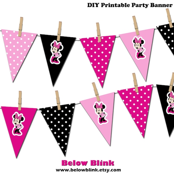Minnie Mouse Banner, Minnie Mouse Printable Party Banner ...