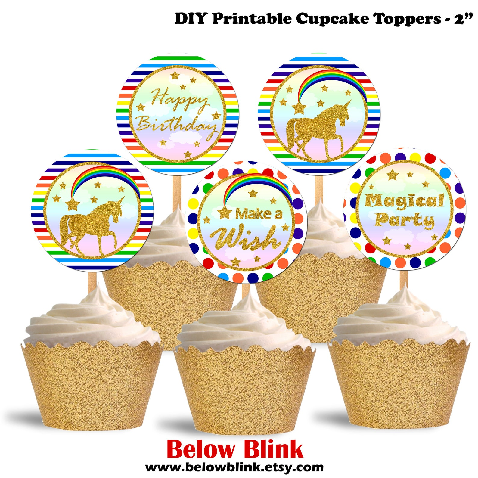 Printable Unicorn Cupcake Toppers Page Two