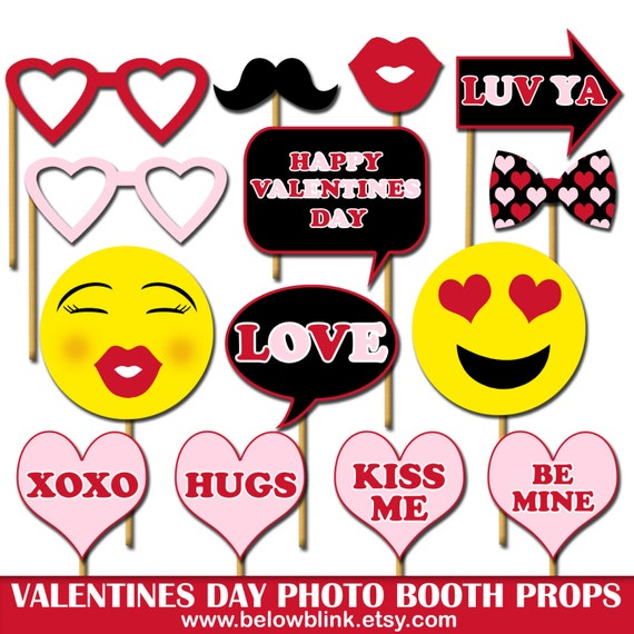 photo about Printable Emoji Photo Booth Props identified as Satisfied Valentines Working day Image Props, Printable Image Booth