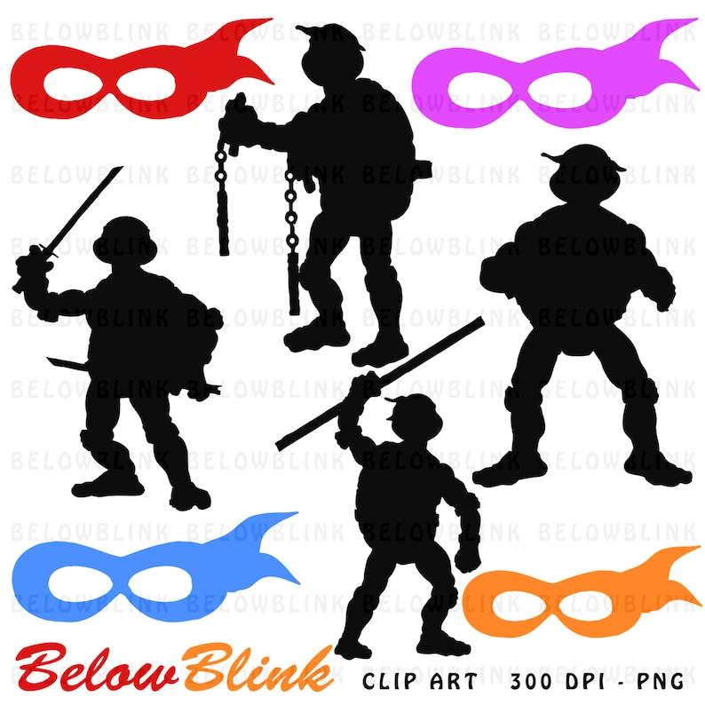 Ninja Tortugas Siluetas Clipart Clip Arte Digital Scrapbooking Etsy