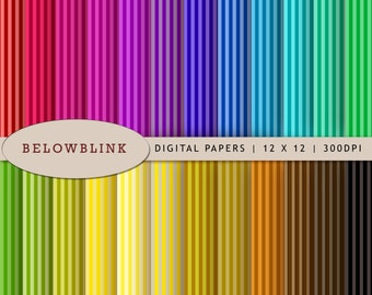 Colorful Stripes Digital Paper Pack, Scrapbook Papers, 24 jpg files 12 x 12 - Instant Download - DP198