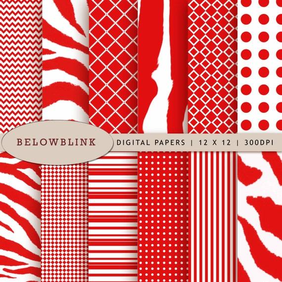 Scrapbook Papers 12 jpg files 12 x 12 DP205 Instant Download Red Zebra Digital Paper Pack