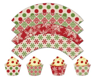 Printable Christmas Cupcake Wrappers, Let it Snow Printable Cupcake Wrappers, Winter Theme Party Decor - Instant Download - DP546