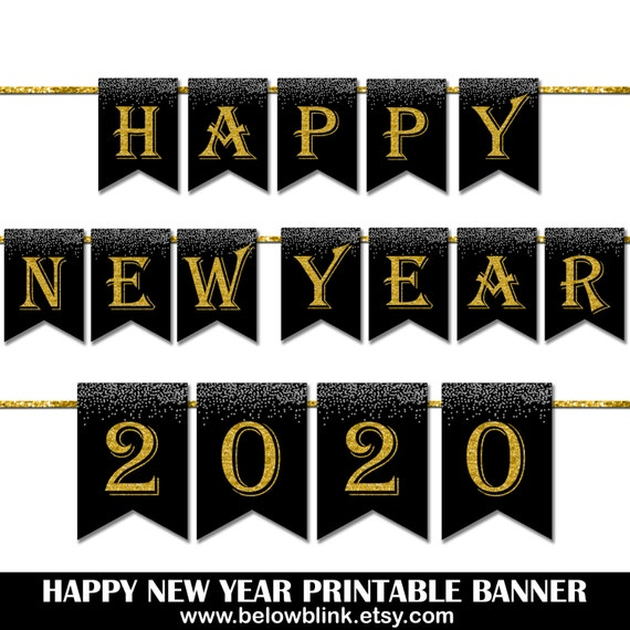 Happy New Year 2020 vector design banner in gold frame with an..