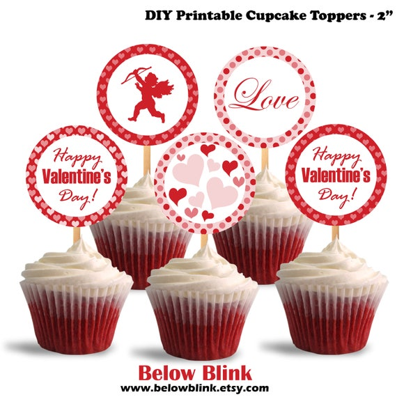 image regarding Printable Cupcakes Toppers identified as Pleased Valentines Working day Cupcake Toppers, Valentine Cupcake