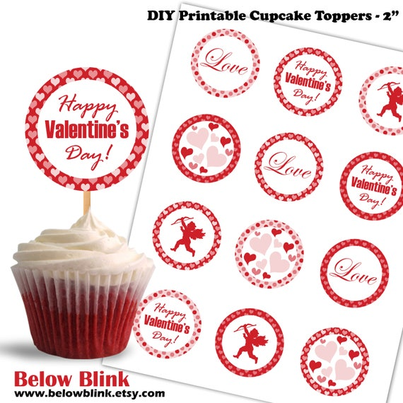 DIY INSTANT DOWNLOAD Dots Hearts Printable Party Cupcake Toppers in Red Black White with Cupid Valentines Day Cake Toppers